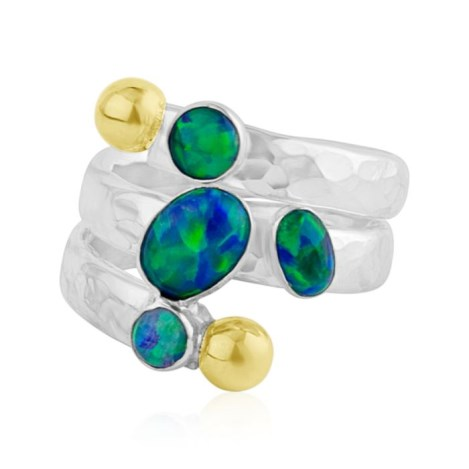 Gold and Silver and Blue Jelly Opal Ring | Image 1