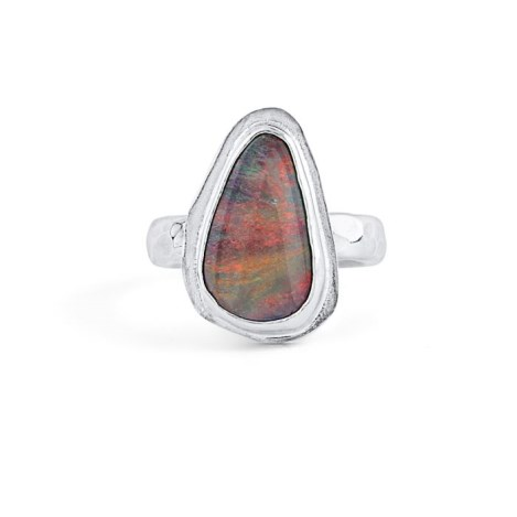 Handmade Silver Ring with Australian Blue Red Opal | Image 1