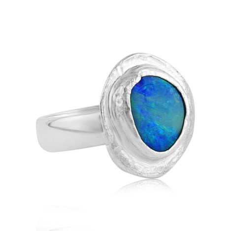 Handmade Silver Ring with Australian Blue Opal | Image 1