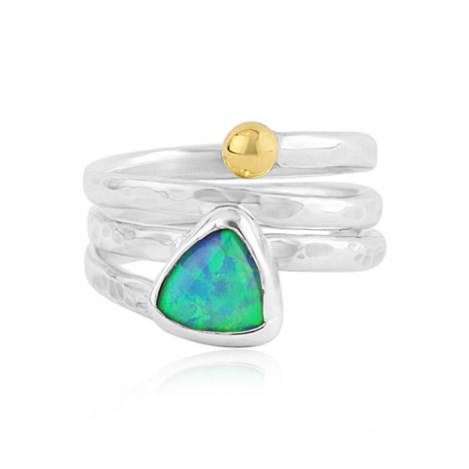 Gold & Silver Opal Hammered Ring | Image 1