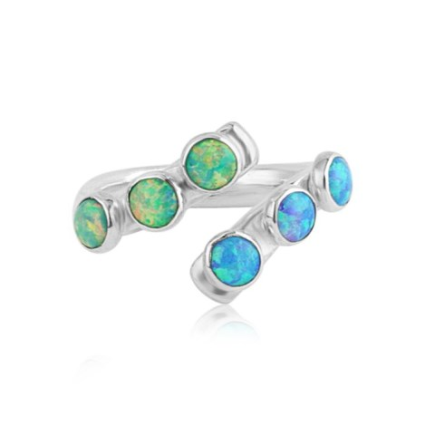 Handmade Gold and Silver Blue Opal Torq Ring | Image 1