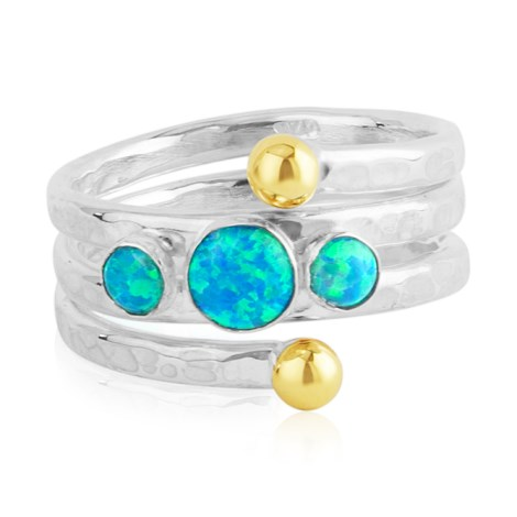 Hammered Silver Multi Opal Hammered Ring | Image 1