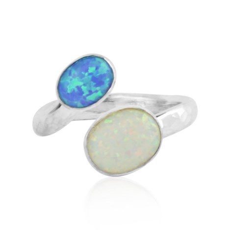 Sterling Silver Blue and White Opal adjustable ring | Image 1