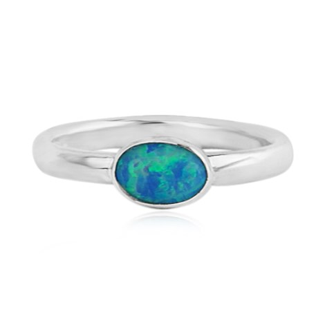 Sterling Silver Blue Opal Oval Ring  | Image 1