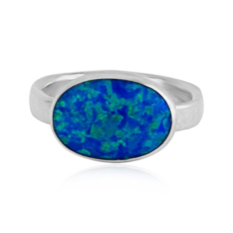 Handmade Silver Ring With Dark Blue Opal  | Image 1