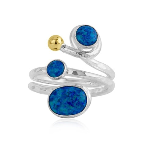 Gold and Silver Ring With Blue Opals | Image 1