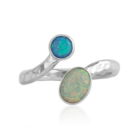 Adjustable Sterling Silver Blue & White Opal Ring | Image 1
