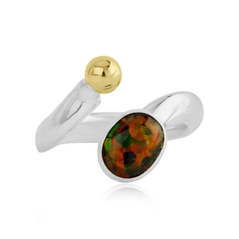 Sterling Silver and Gold Adjustable Fire Opal Ring | Image 1
