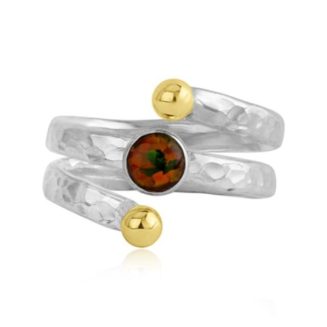Sterling Silver Hammered Spiral Ring with Red Fire Opal | Image 1