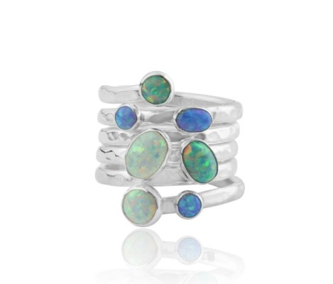 Silver Spiral multi blue opal Ring | Image 1