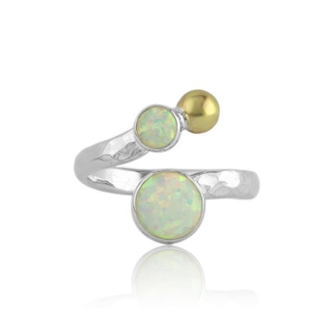 Gold & silver ring with white opal | Image 1