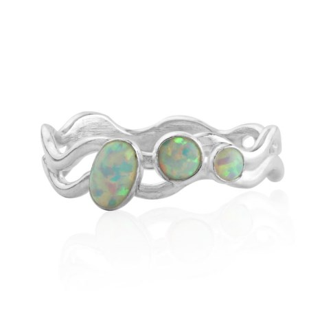 Silver wavy ring with white opals | Image 1