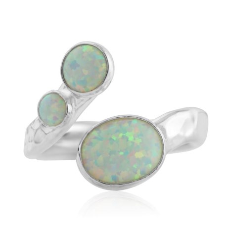 Silver ring with white opals | Image 1