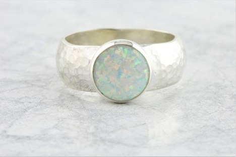 Wide hammered white opal ring | Image 1