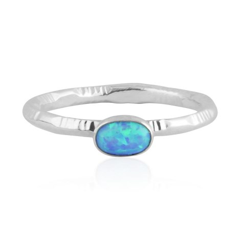 Blue opal silver ring with stamp pattern | Image 1