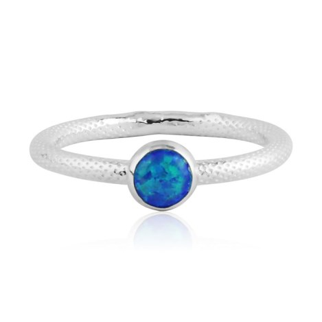 Aqua opal silver ring with snake pattern | Image 1