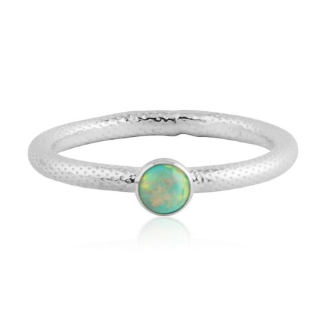 Green opal silver ring with snake pattern | Image 1