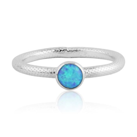 Blue opal silver ring with snake pattern | Image 1