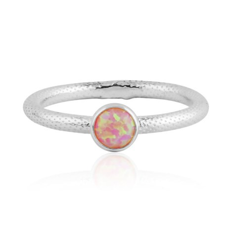 Pink opal silver ring with snake pattern | Image 1