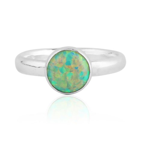 Sterling silver and green opal ring | Image 1