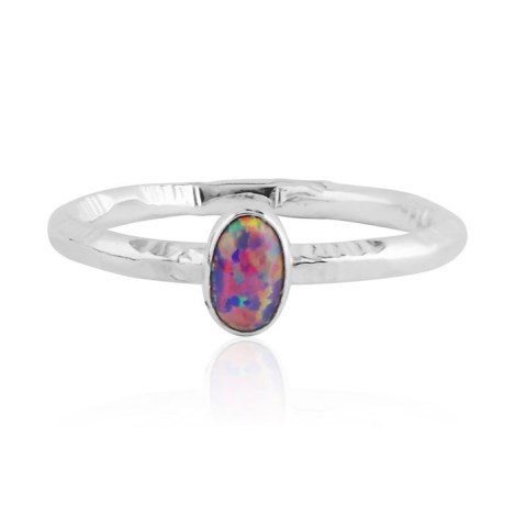 Purple opal silver ring with stamp pattern | Image 1