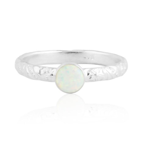 White opal silver ring with floral pattern | Image 1