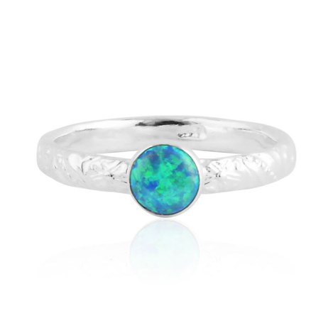 Aqua opal silver ring with floral pattern | Image 1