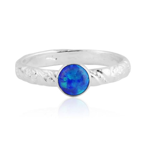 Dark blue opal silver ring with floral pattern | Image 1