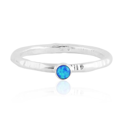 Blue 3mm opal patterned silver ring  | Image 1