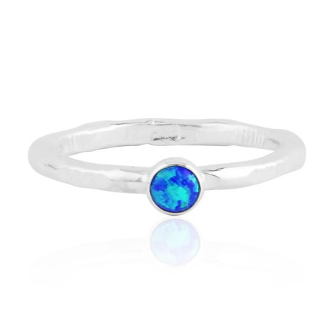 Aqua opal silver ring with stamp pattern | Image 1