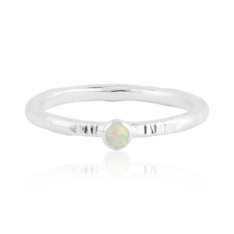 White 3mm opal silver patterned ring | Image 1