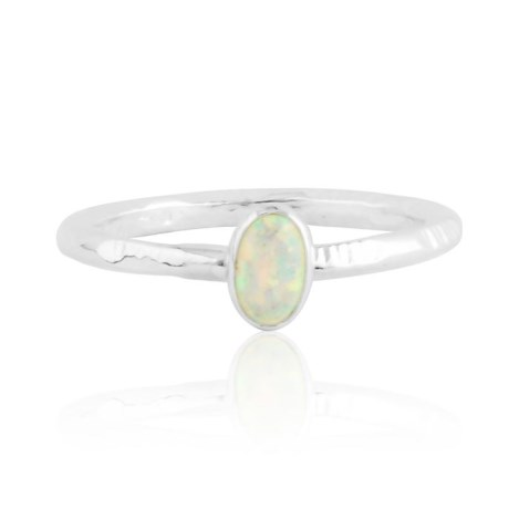White opal silver ring with stamp pattern | Image 1