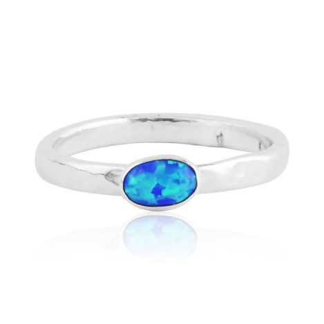 Dark Blue opal silver ring  | Image 1