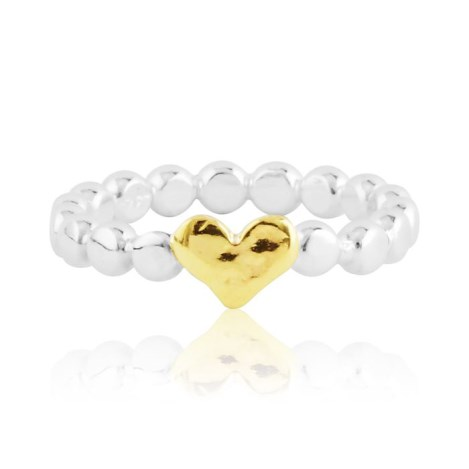 Gold and silver pearl wire heart ring | Image 1