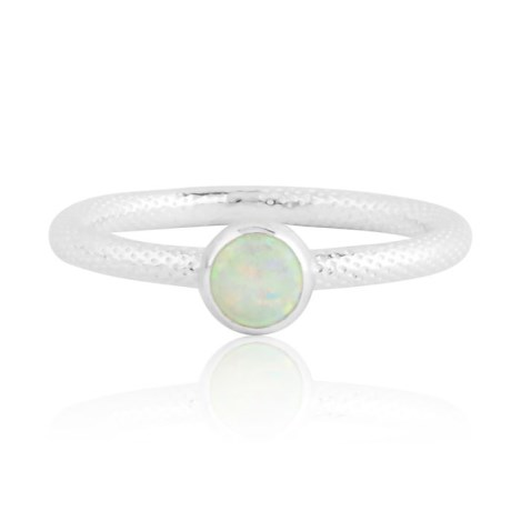 White opal silver ring with snake pattern | Image 1