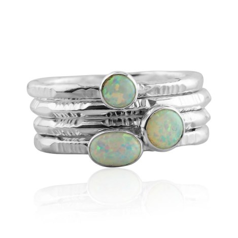 Silver and white opal stacking ring set | Image 1