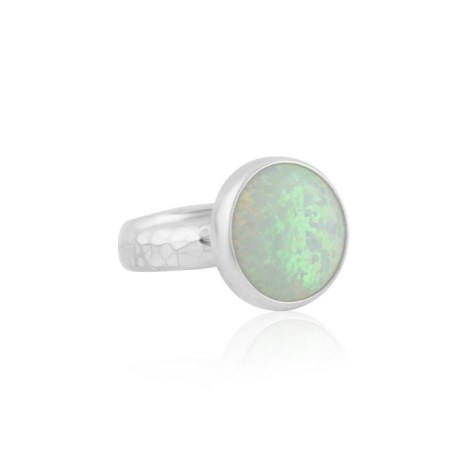 Large White Opal Silver Ring  | Image 1