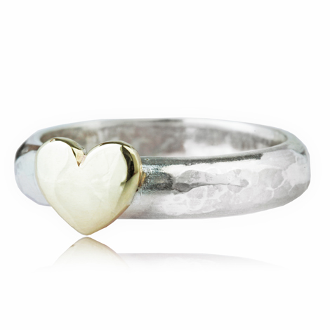 Gold and Silver Hammered Heart Ring | Image 1