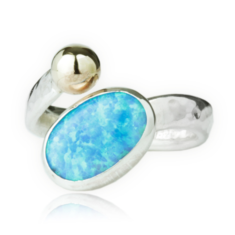 Gold and Silver Opal Ring | Image 1