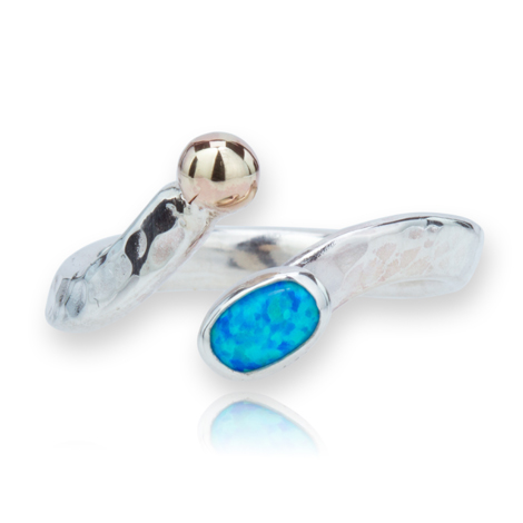 Gold and Silver Blue Opal Ring | Image 1