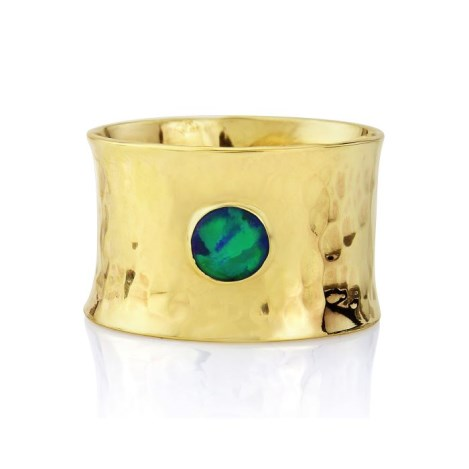 Gold hammered wide ring with blue/green opal | Image 1