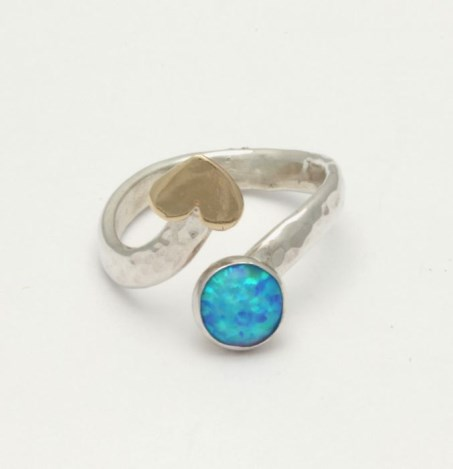 Gold and Silver Adjustable Opal Ring | Image 1