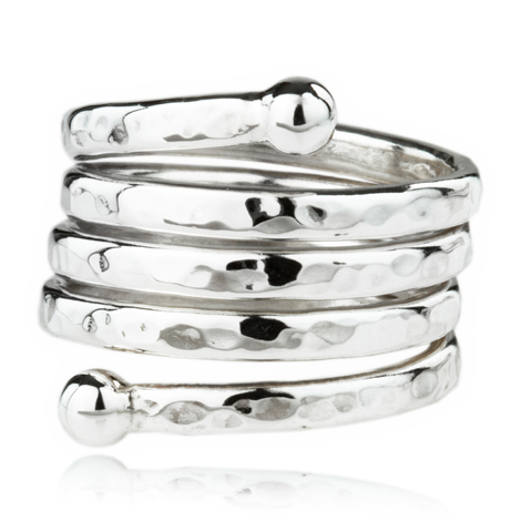 Sterliing Silver Hammered Spiral Ring | Image 1