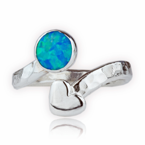 Handmade Silver Opal and Heart Torq Ring | Image 1