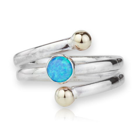 Gold and Silver Opal Spiral Ring | Image 1