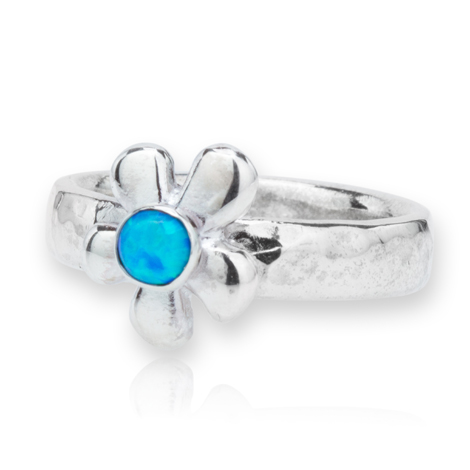 Silver Daisy Opal Ring | Image 1