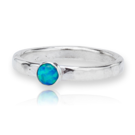 Handmade Hammered Silver Opal Ring | Image 1