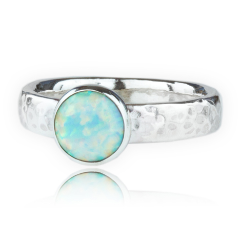 Sterling Silver White Opal Ring | Image 1