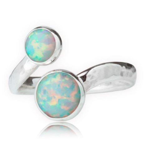 Silver and White Opal Adjustable Ring | Image 1