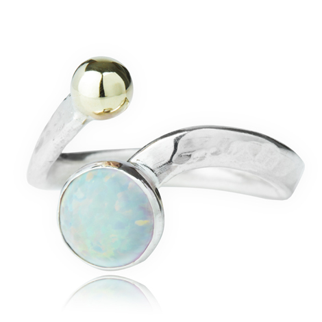 Silver and Gold Opal Adjustable Ring | Image 1